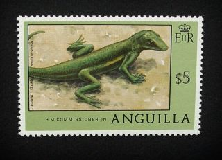 Anguilla Qeii $5 Stamp C1977 Ground Lizard,  Unmounted A859 photo