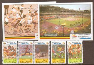 Uganda Sg918/23 1992 Olympic Games 2 Sheet+set photo