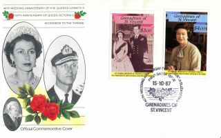 St Vincent Grenadines 1987 Queen 40th Wedding Anniversary $3 & 4 First Day Cover photo
