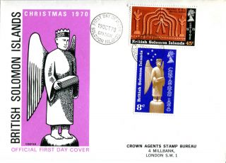 British Solomon Islands 1970 Christmas Illustrated First Day Cover photo