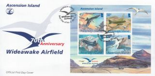Ascension Island 2012 Fdc 70th Anniv Wideawake Airfield 4v Sheet Cover Birds Dc3 photo