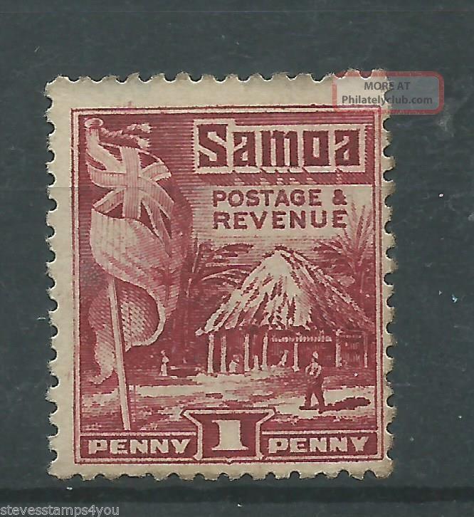Samoa - 1921 - Sg154 - P14.  00 X P13.  50 - Cv £ 5.  00 - Mounted British Colonies & Territories photo