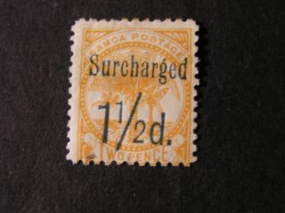 Samoa,  Scott 24.  11/2p.  Surcharge On 2p.  Value Orange 1895 Palms Issue Mh photo