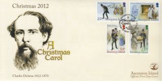 Ascension Island 2012 Fdc Charles Dickens Christmas Carol 4v Cover photo