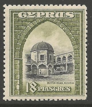 Cyprus Sg142 1934 18pi Black & Olive - Green Mtd photo