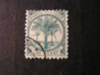 Samoa,  Scott 11f.  1p.  Value Bluish Green 1897 Palms Issue photo
