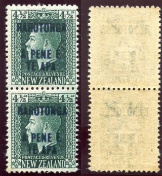 Cook Islands 1919 Kgv 4½d Deep Green Vertical Pair Mlh.  Sg 51b. photo
