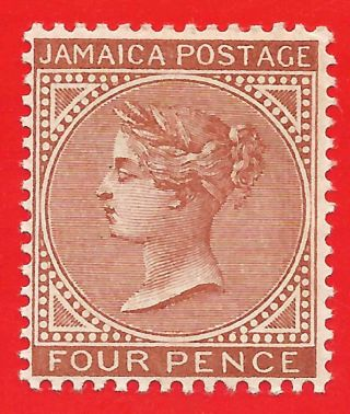 4d Red - Brown Stamp 1908 Jamaica Queen Victoria Sg48 photo
