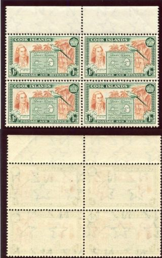 Cook Islands 1949 Kgvi 1d Chestnut & Green Block Of Four.  Sg 151.  Sc 132. photo