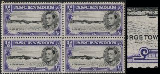 Ascension Sg 38ba 1944 ½d With Long Centre Bar To E In Um/nh Block Of 4 photo