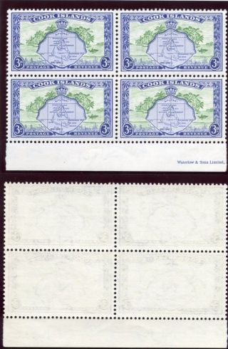 Cook Islands 1949 Kgvi 3d Green & Ultramarine Block Of Four.  Sg 153b. photo