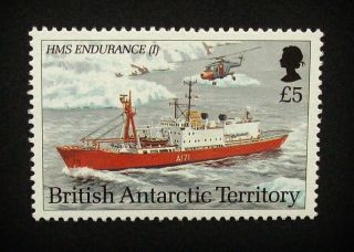 British Antarctic Territory Qeii £5 Stamp C1993 Hms Endurance (i) Ship,  Um,  A914 photo