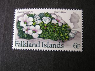 Falkland Is.  Scott 218.  6p.  Value 1972 Flowers With Currency photo