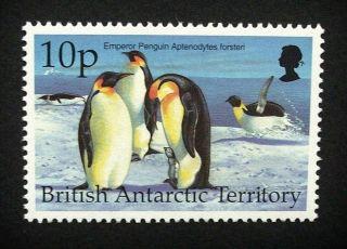 British Antarctic Territory Qeii 10p Bird Stamp C1993 Emperor Penguin,  Um,  A917 photo