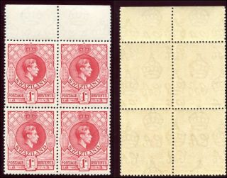 Swaziland 1938 Kgvi 1d Rose - Red Block Of Four.  Sg 29. photo