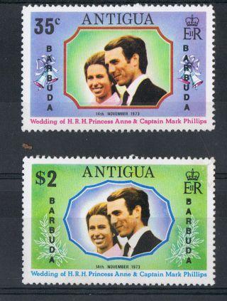 Barbuda 1973 Princes Anne Royal Wedding Rare Antigua Overprint Nh C/v £17 photo
