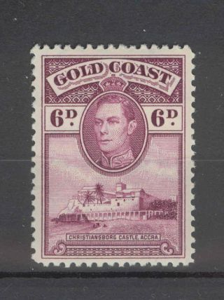 Gold Coast Kgvi 1938 6d Purple Sg126 Line Perf 12,  Slight Gum Fold photo