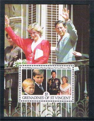 Gren.  St.  Vincent 1991 Charles & Diana Anniv M.  Ssg759 photo