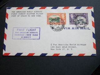 Kgvi 1946 20c Air Mail First Direct Clipper Flight Cover Trinidad To York Us photo