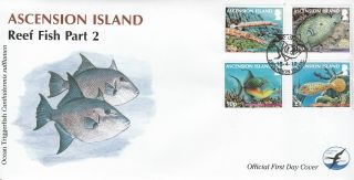 Ascension Island 2012 Fdc Reef Fish Part 2 4v Cover Trumpetfish Peacock Flounder photo