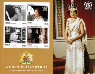 Mayreau Grenadines St Vincent 2013 Coronation Queen Elizabeth Ii 60th Ann 4v photo