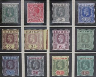 Gold Coast 1913 - 1921 Kgv Definitives 1/2d - 10s Die I Vf Um/mm (see Details). photo