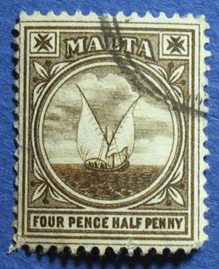 1905 Malta 4 1/2d Scott 42 S.  G.  57 Cs02514 photo