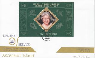 Ascension Island 2012 Fdc Diamond Jubilee 1v Sheet Cover Hm Queen Elizabeth Ii photo