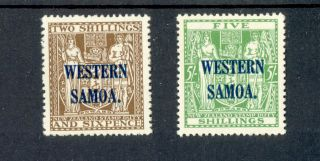 Samoa Kgv Arms 2/6d Brown & 5/ - Green 1935 - 42 Lmm Sg189/90 photo