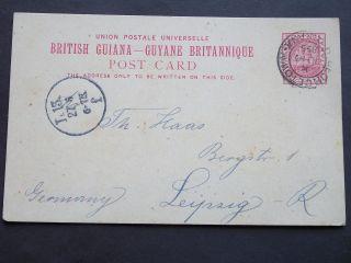 Qv British Guiana Stationery 1895 2c Postcard Georgetown B.  Guiana To Germany photo