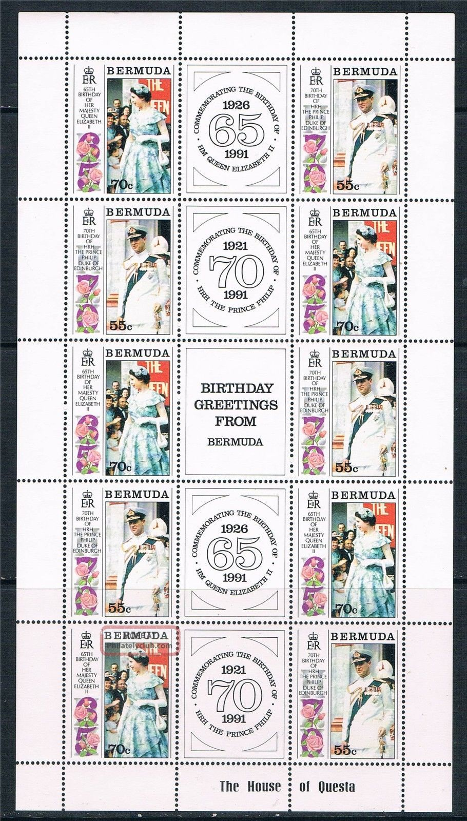 Bermuda 1991 Royal Birthdays Complete Sheet Sg634/5 British Colonies & Territories photo