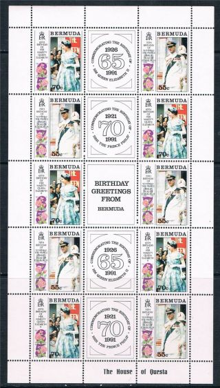 Bermuda 1991 Royal Birthdays Complete Sheet Sg634/5 photo