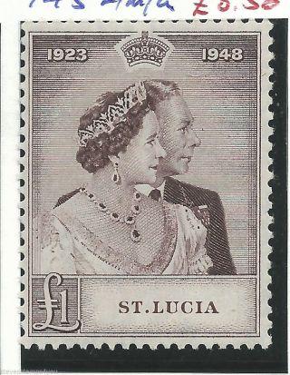 St Lucia - 1948 - Silver Wedding - Sg145 - Cv £ 17.  00 - Mounted photo