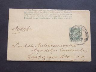 Qv British Guiana Stationery 1c Newspaper Wrapper Georgetown B.  Guiana To Germany photo