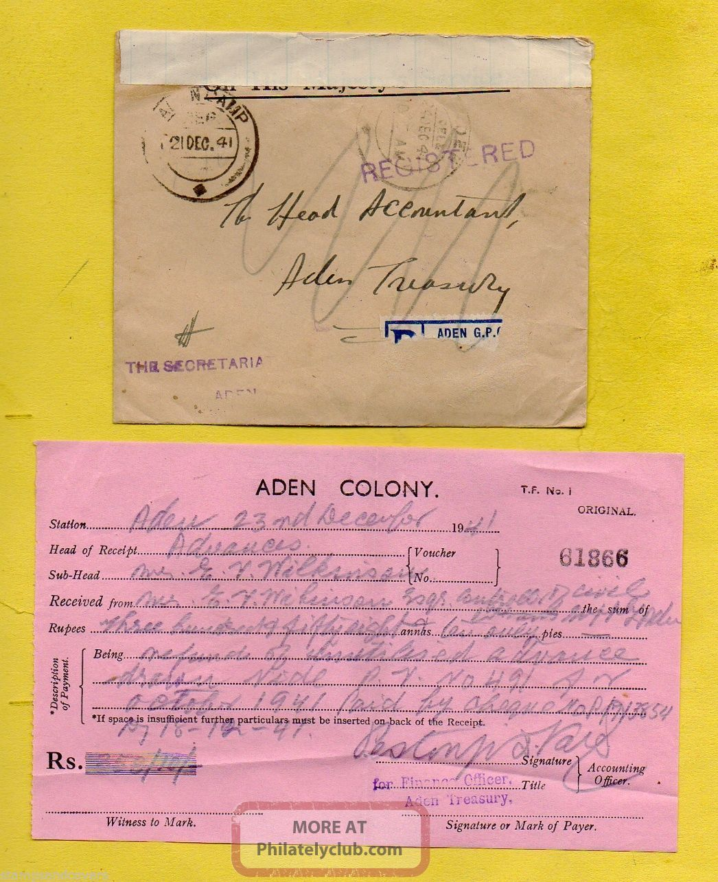 Aden Colony 1941 Aden Camp Ohms Registered Cover - Aden Treasury,  Reused+contents British Colonies & Territories photo