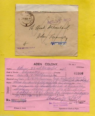 Aden Colony 1941 Aden Camp Ohms Registered Cover - Aden Treasury,  Reused+contents photo