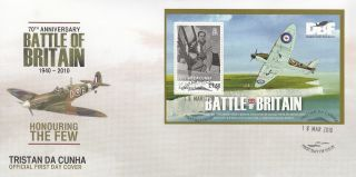 Tristan Da Cunha 2010 Fdc Battle Of Britain 1v Sheet Cover Douglas Bader photo