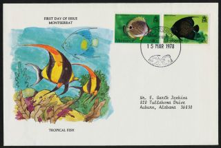 Montserrat 381 - 2 On Cover - Tropical Fish photo