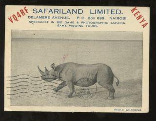 Kenya 1951 Ppc Rhino Radio Card Vq4rf Safari Land Advertising photo