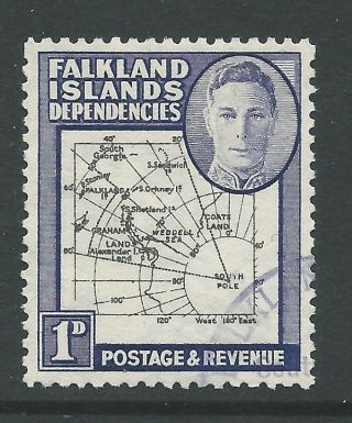 1946 Falkland Is Deps Sg G2 1d Map With Multiple Listed Errors, photo