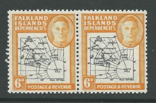 1946 Falkland Is Deps Sg G6 6d Map With ' Dot Over ' A ' In East Error ' - photo