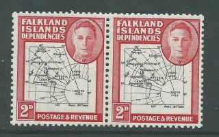 1946 Falkland Is Deps Sg G3 2d Map Pair With Multiple Errors - photo