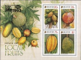 Nature Series Local Fruits Bangkok ' 92 Souvenir Sheet Singapore 669a photo