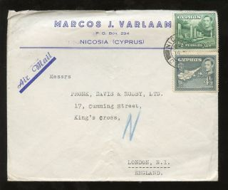 Cyprus Kg6 1948 Printed Advert Envelope. . .  Varlaam Nicosia. . .  5pi Air Rate To Gb photo