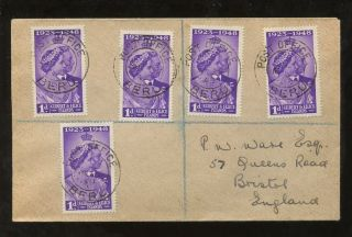 Gilbert + Ellice Is 1949 Royal Silver Wedding 1d X 5 Regist.  Fdc. . .  P.  O Beru Pmk photo