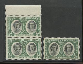 Southern Rhodesia Error 1947 Princess Vignette Colour Shift. . .  Top Marginal Pair photo
