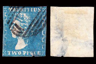 Mauritius Qv 1859 (2 Dec) 2d Sg 43a With Faults Cv £950 For Sound photo