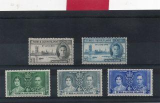 Turks& Caicos G V1 1937&46 Coronation&victory Nhm photo