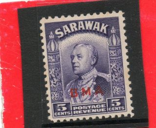 Sarawack Gv1 1945 Bma O/print 5c Sg 130 H. photo