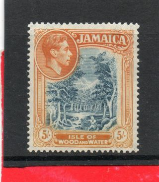 Jamaica G V1 1938 5sh Slate - Blue&yellow - Orange Sg 132 H. photo